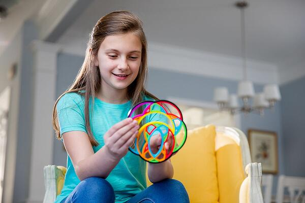 Moon spinner girl playing